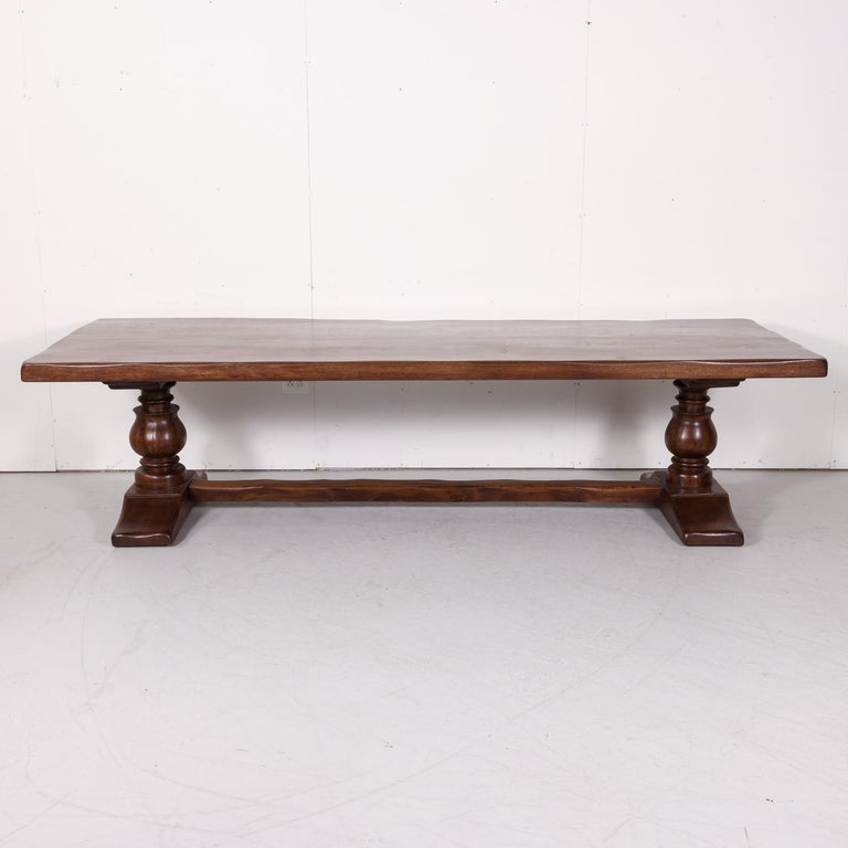 Large Antique French Oak Monastery Trestle Dining Table 1