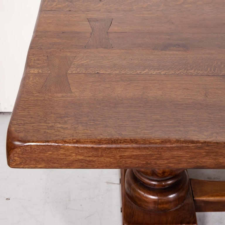 Large Antique French Oak Monastery Trestle Dining Table 2