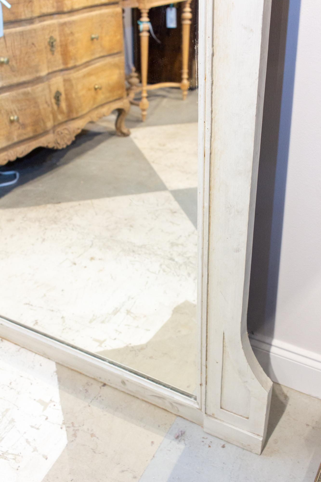 Large Antique French Painted Floor Mirror In Antiqued White At 1stdibs