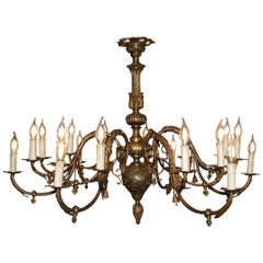 Large Antique French Renaissance Style Brass Electric Chandelier with 18 Lights