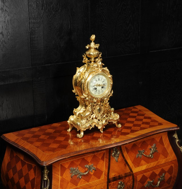 Large Antique French Rococo Clock by A D Mougin For Sale 4