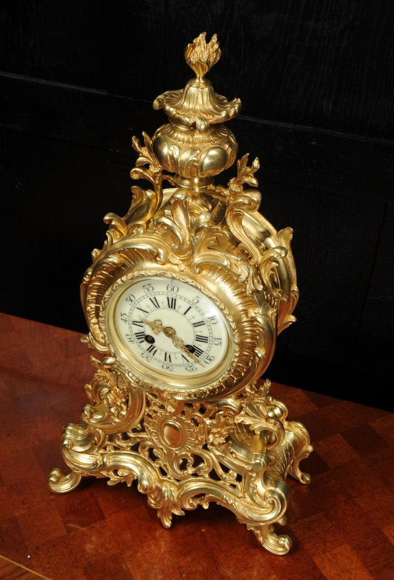 Large Antique French Rococo Clock by A D Mougin For Sale 5