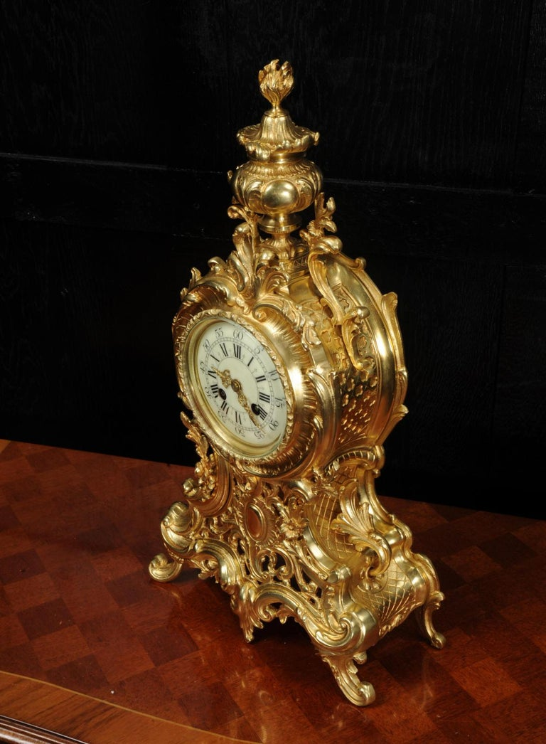 Large Antique French Rococo Clock by A D Mougin For Sale 6