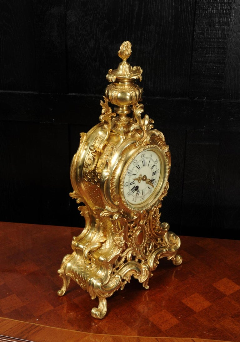 Large Antique French Rococo Clock by A D Mougin For Sale 7