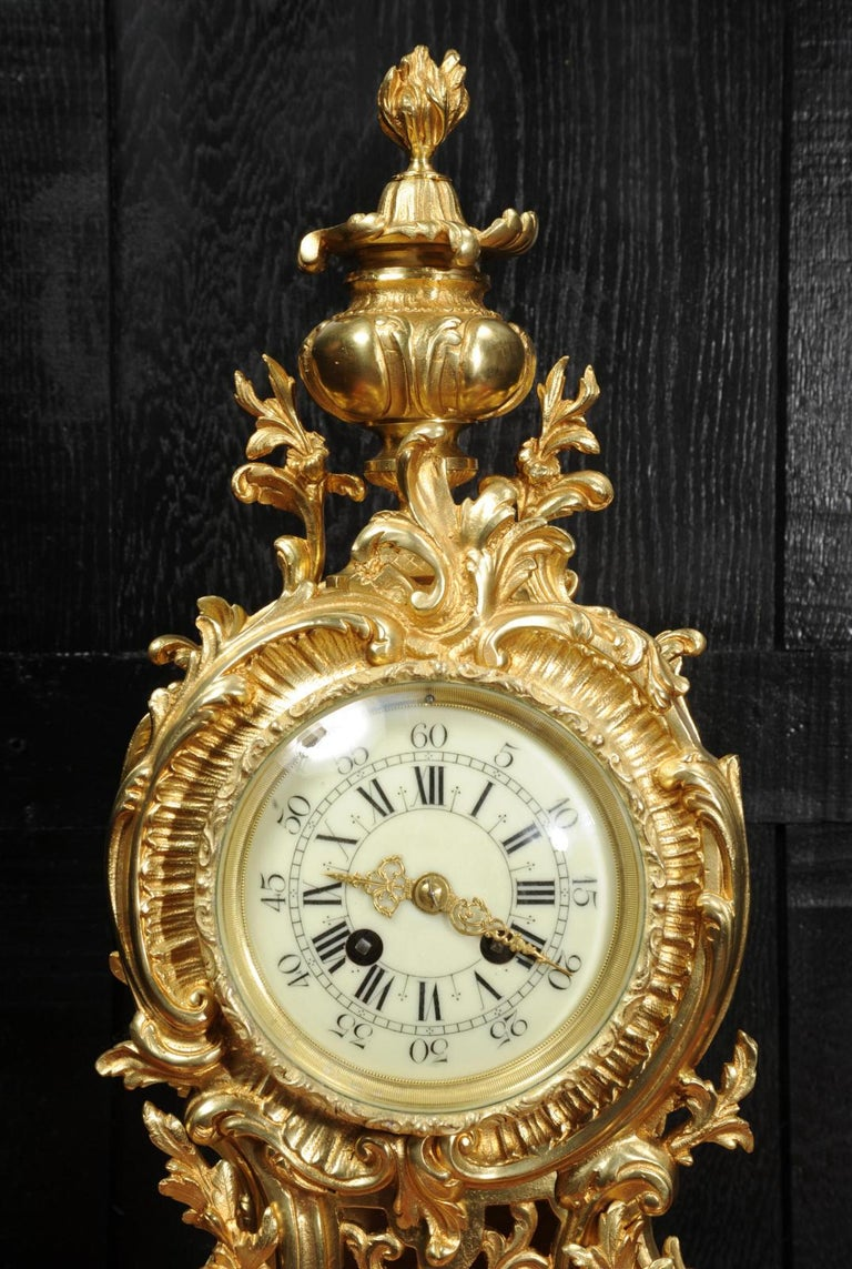 Large Antique French Rococo Clock by A D Mougin For Sale 8