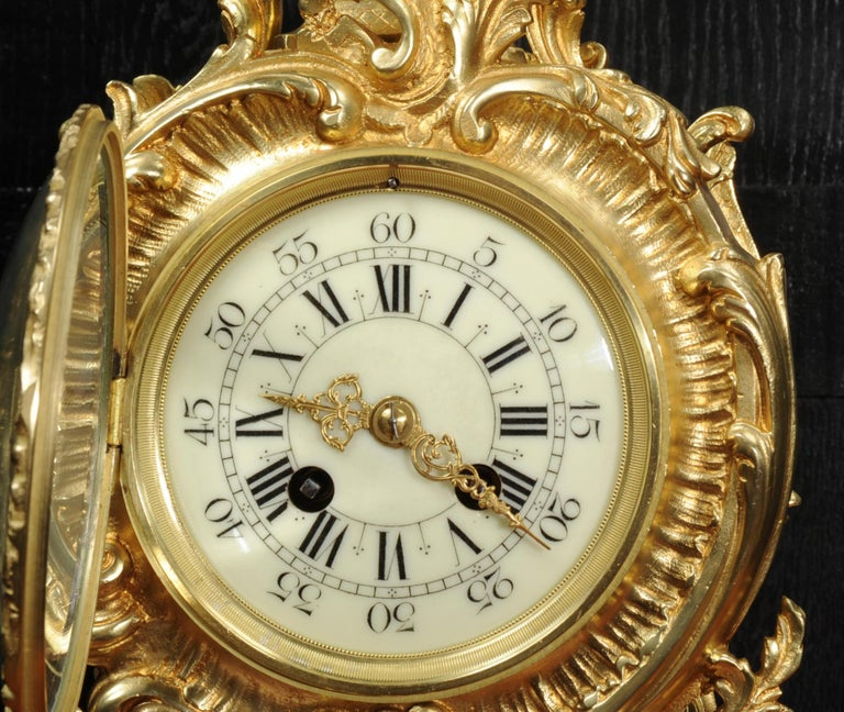 Large Antique French Rococo Clock by A D Mougin For Sale 9