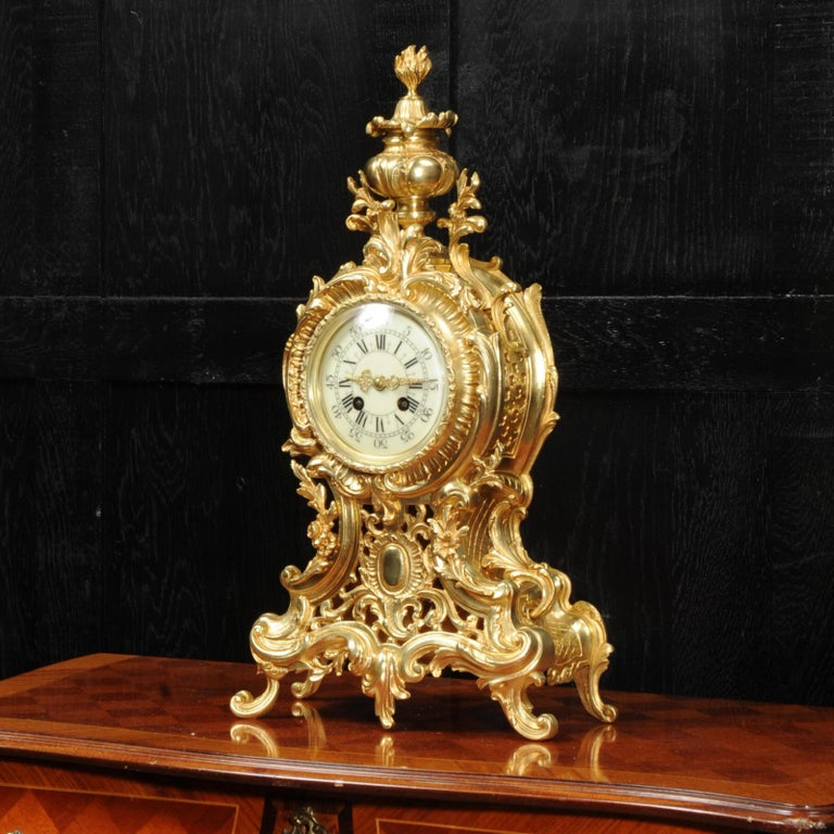 Gilt Large Antique French Rococo Clock by A D Mougin For Sale