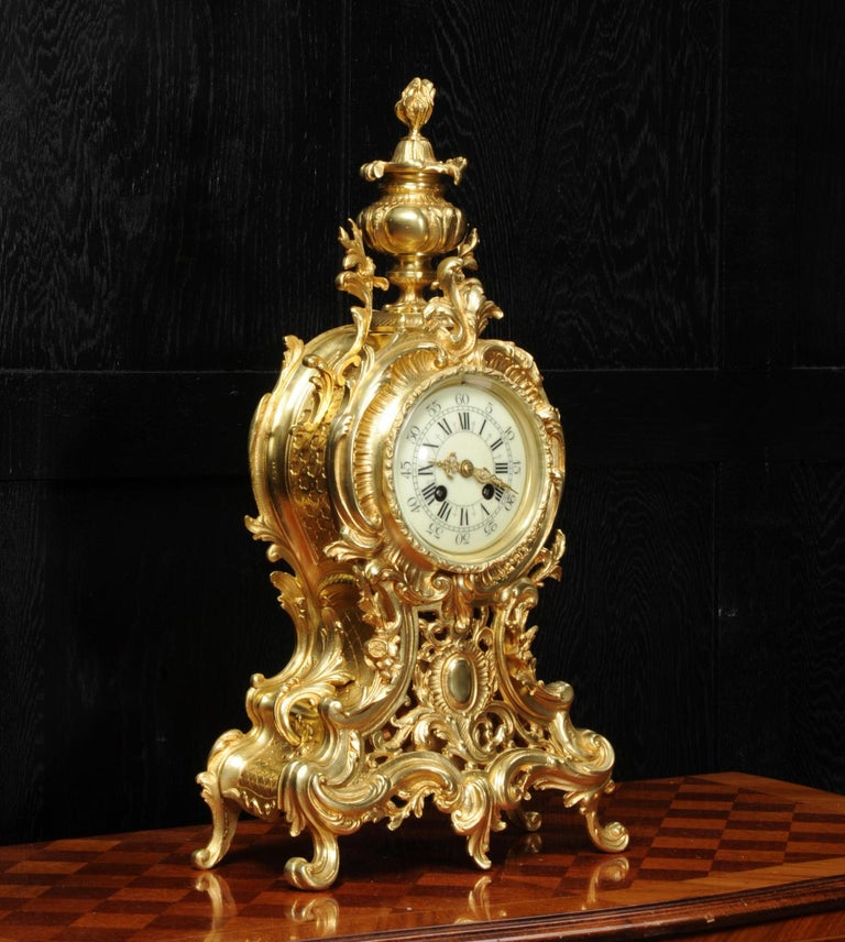 Large Antique French Rococo Clock by A D Mougin In Good Condition For Sale In Belper, Derbyshire