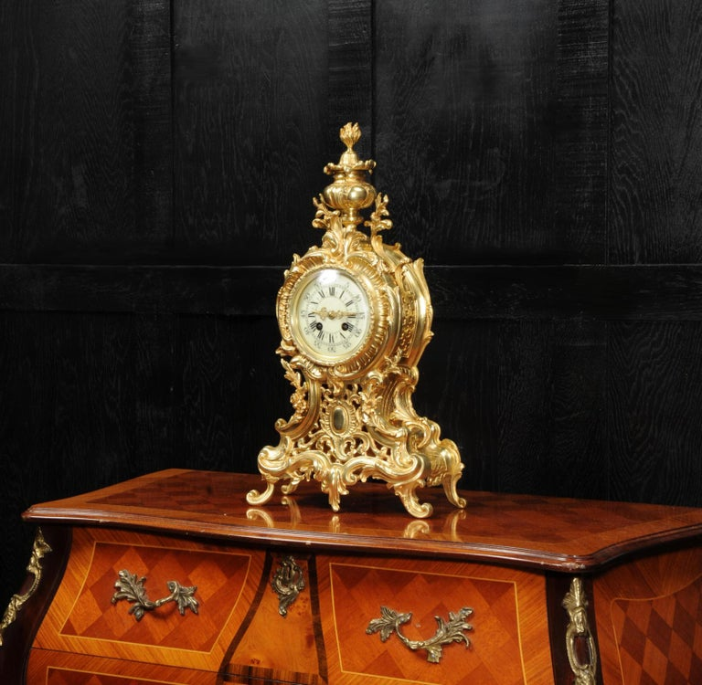 19th Century Large Antique French Rococo Clock by A D Mougin For Sale