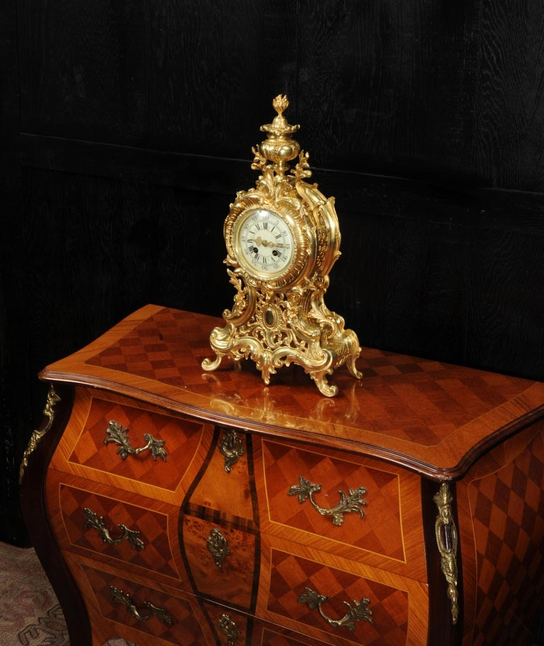 Bronze Large Antique French Rococo Clock by A D Mougin For Sale