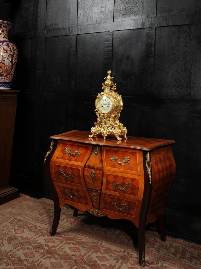 Large Antique French Rococo Clock by A D Mougin For Sale 2