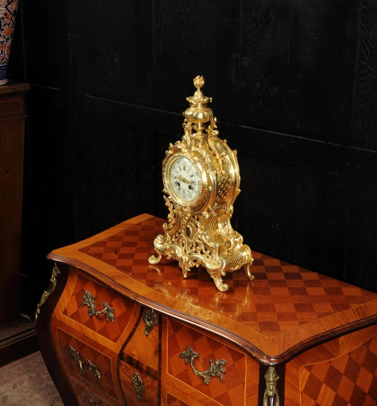 Large Antique French Rococo Clock by A D Mougin For Sale 3