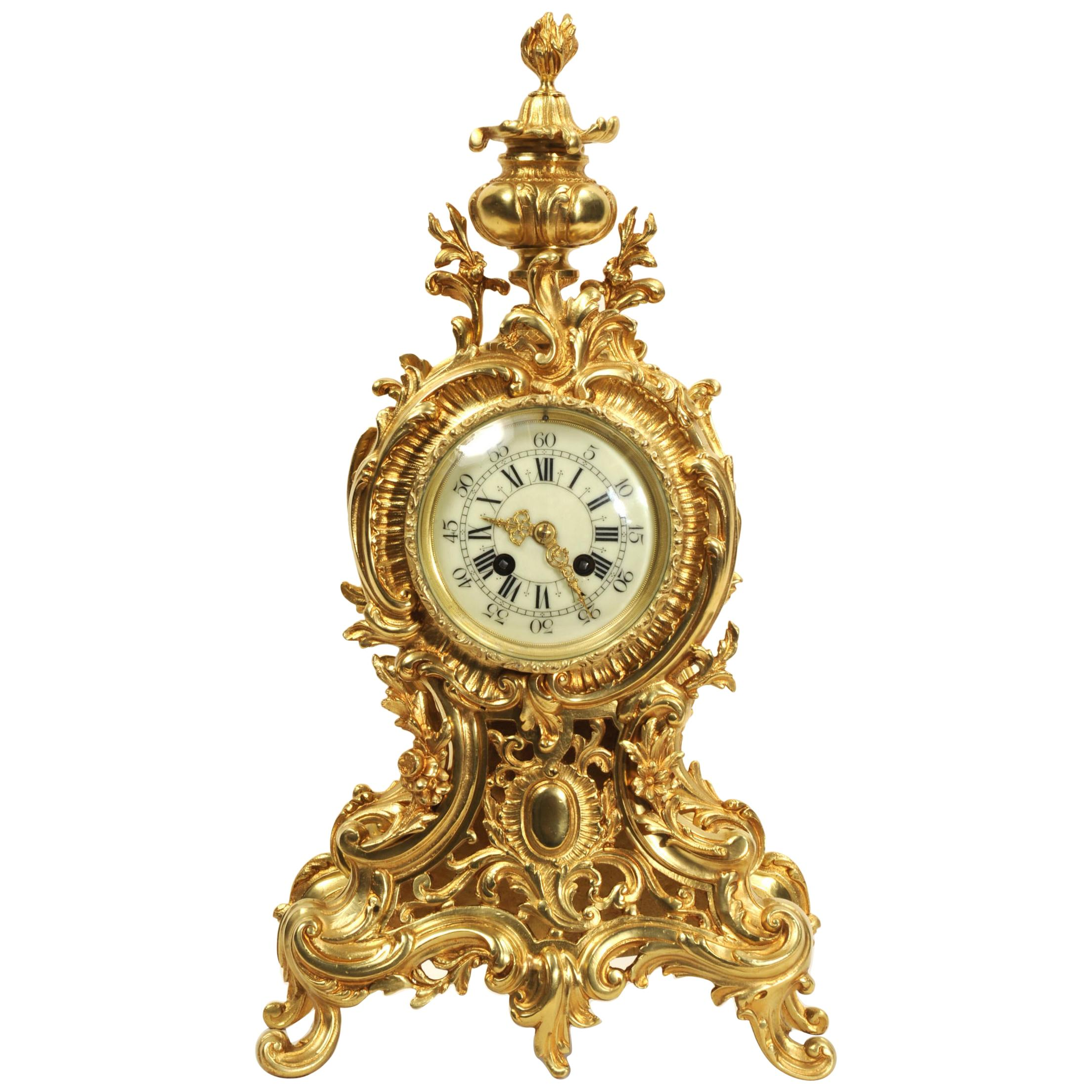 Large Antique French Rococo Clock by A D Mougin