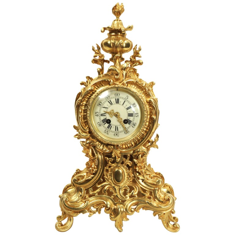 Large Antique French Rococo Clock by A D Mougin For Sale