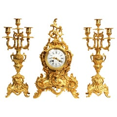 Large Antique French Rococo Gilt Bronze Clock Set