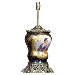 Large Antique French Sevres Style Ormolu-Mounted Table Lamp