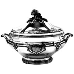 Large Antique French Solid Silver Lidded Soup Tureen, c. 1890
