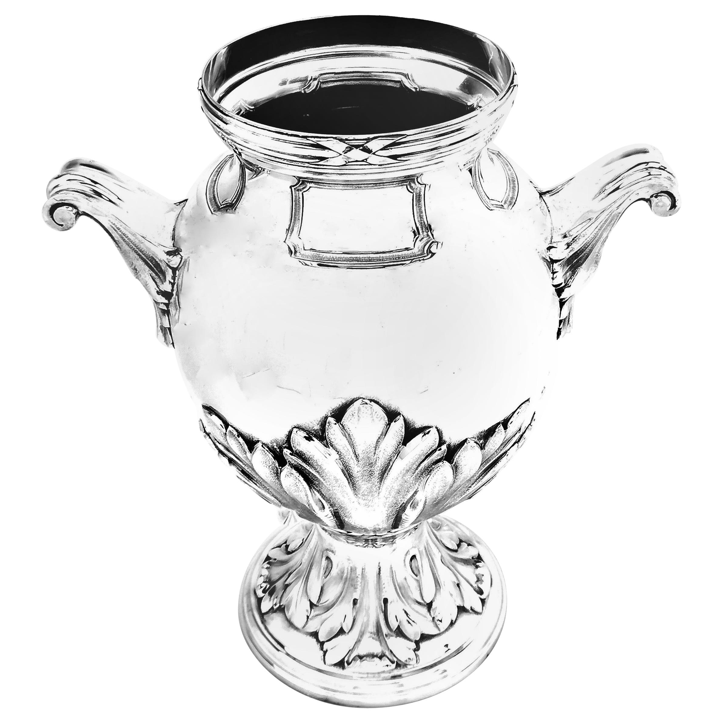 Large Antique French Solid Silver Vase, circa 1900