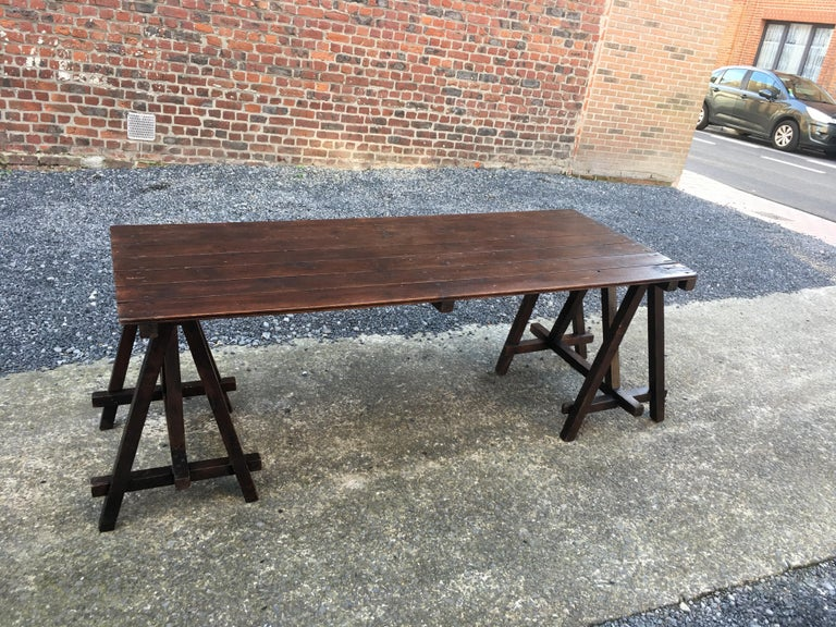 Large Antique French Trestle Table, circa 1930 For Sale 4