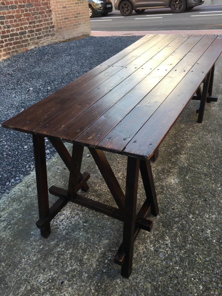Large Antique French Trestle Table, circa 1930 For Sale 5