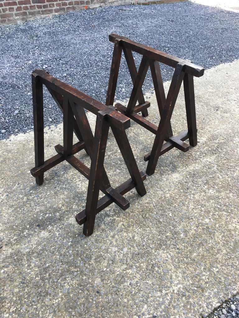 Large Antique French Trestle Table, circa 1930 For Sale 6