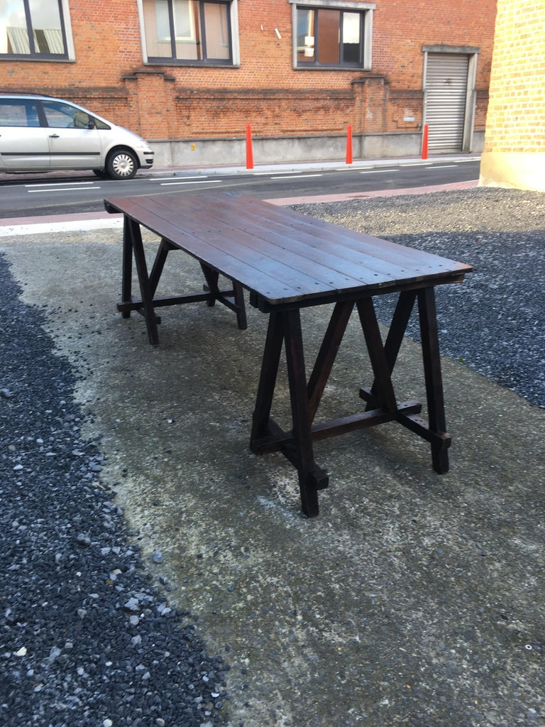 Large antique French trestle table, circa 1930