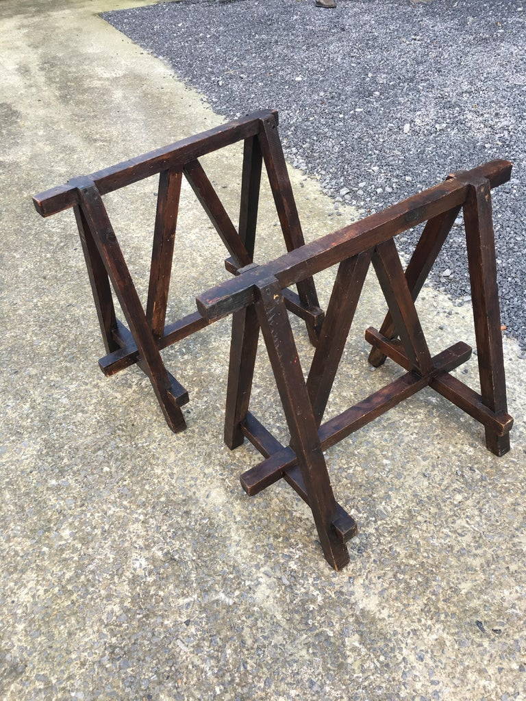 Industrial Large Antique French Trestle Table, circa 1930 For Sale