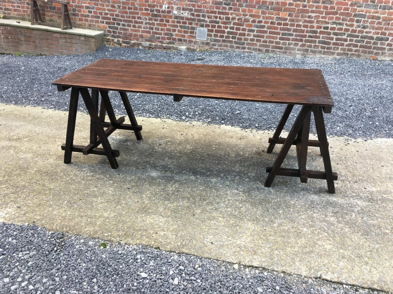 European Large Antique French Trestle Table, circa 1930 For Sale