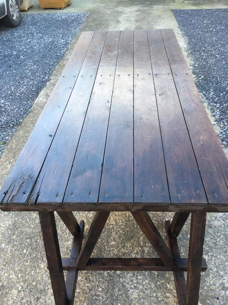 Large Antique French Trestle Table, circa 1930 In Good Condition For Sale In Saint-Ouen, FR
