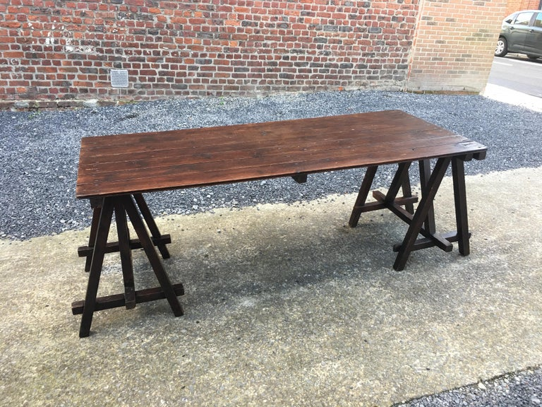 Mid-20th Century Large Antique French Trestle Table, circa 1930 For Sale