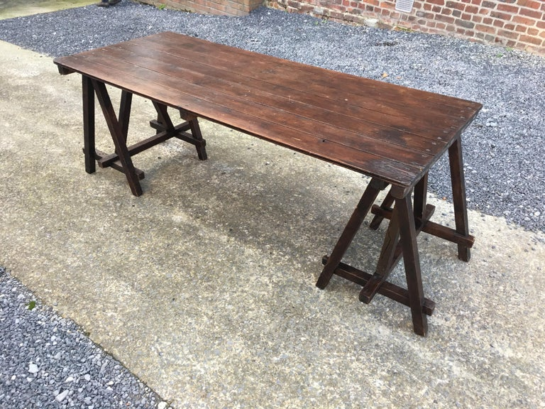 Wood Large Antique French Trestle Table, circa 1930 For Sale