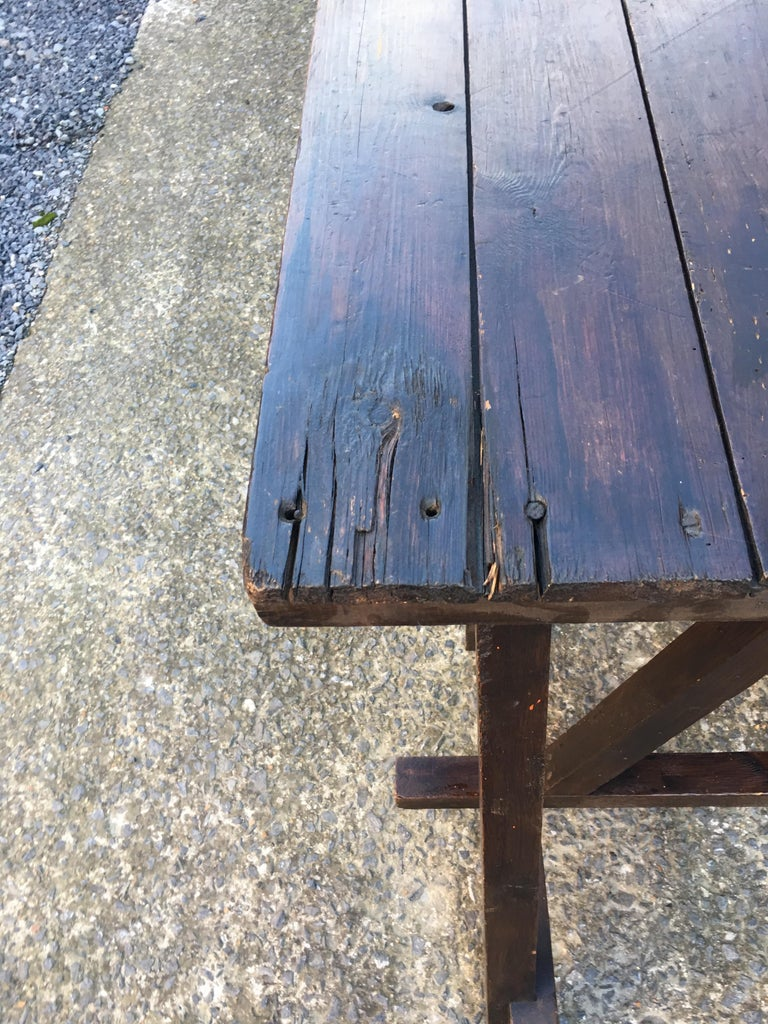 Large Antique French Trestle Table, circa 1930 For Sale 1