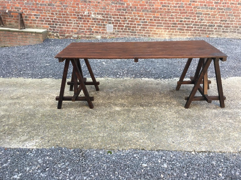 Large Antique French Trestle Table, circa 1930 For Sale 2