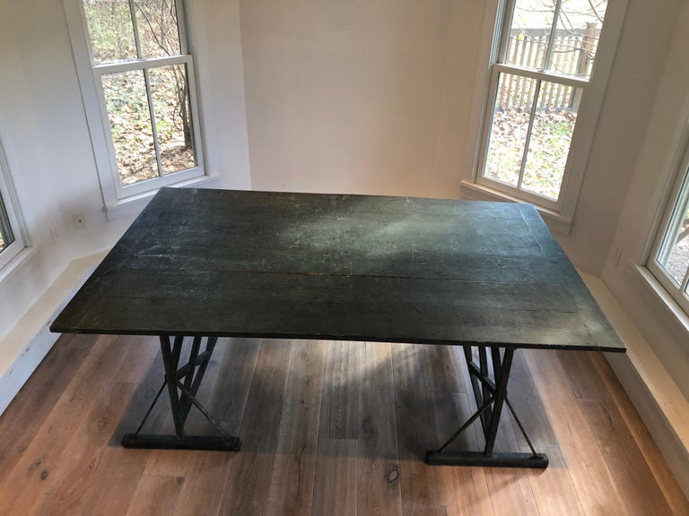 Rustic Large Antique French Trestle Table For Sale