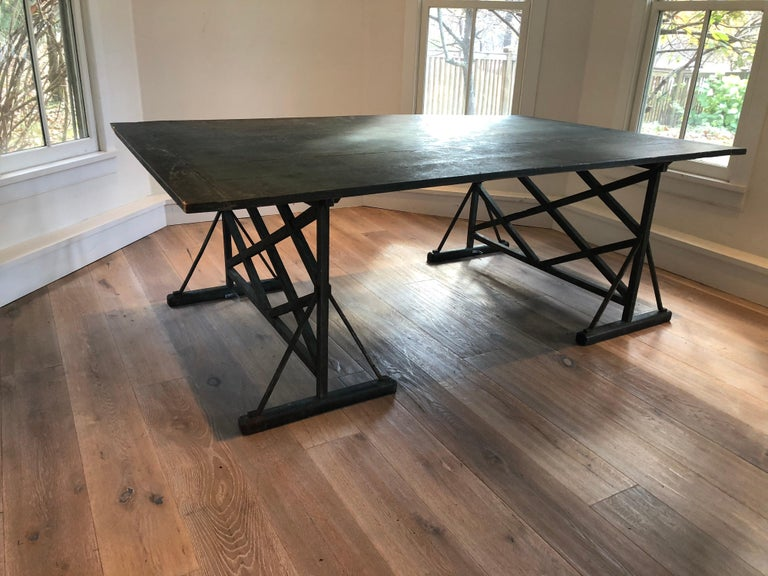 Large Antique French Trestle Table In Good Condition For Sale In Stockton, NJ