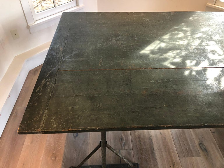 Early 20th Century Large Antique French Trestle Table For Sale