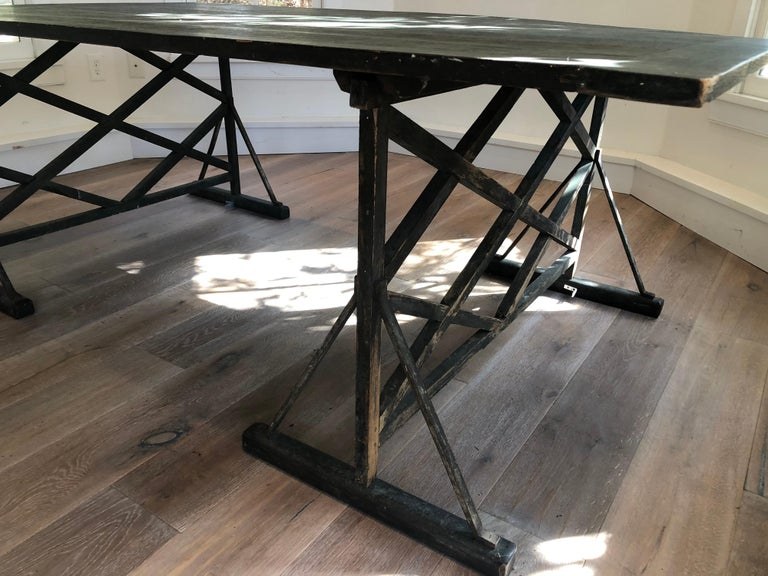 Wood Large Antique French Trestle Table For Sale