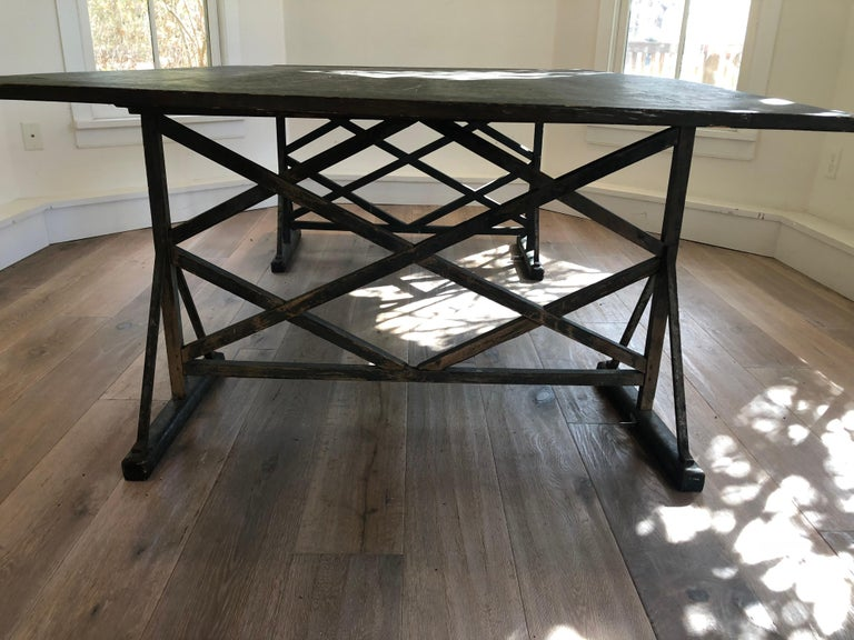 Large Antique French Trestle Table For Sale 3