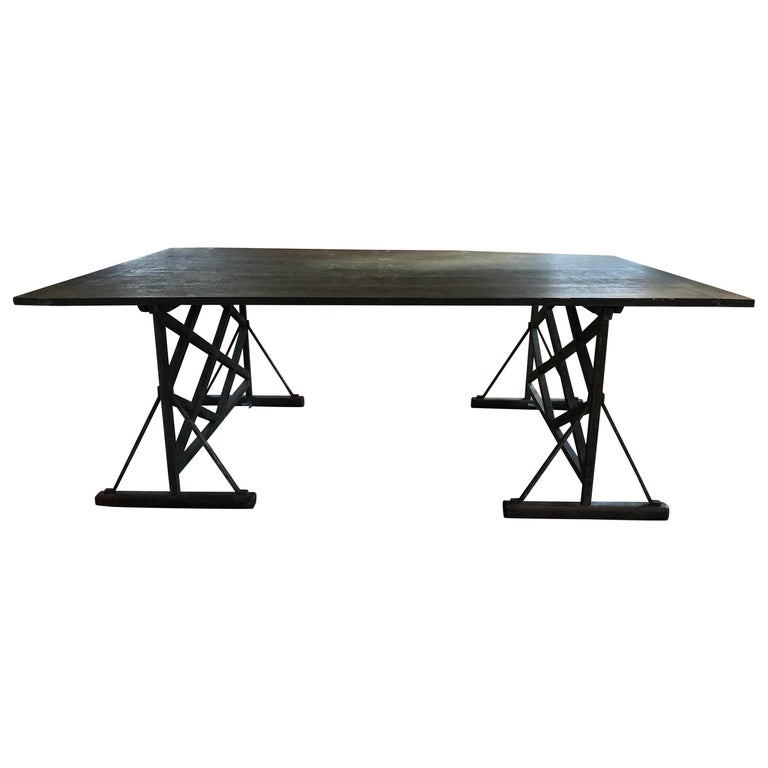 Large Antique French Trestle Table For Sale