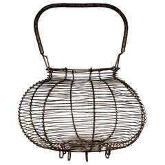 Large Antique French Wire Egg Basket, circa 1940