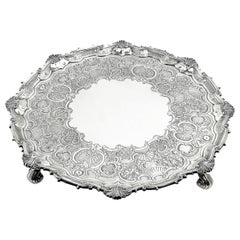 Large Antique George III Georgian Sterling Silver Salver / Tray 1819 Platter
