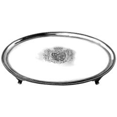 Large Antique Georgian Oval Solid Silver Salver 1784 Platter Tray Waiter