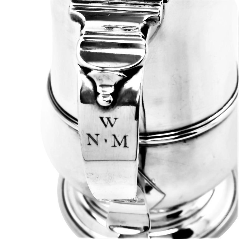 Large Antique Georgian Sterling Silver Lidded Tankard Beer Mug 1769 18th Century In Good Condition For Sale In London, GB