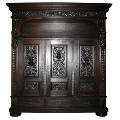Large Antique German Historicism Oak Cupboard, circa 1880