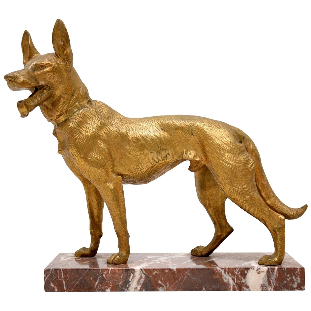 Large Antique Gilt Bronze Dog Sculpture by Robert Bousquet