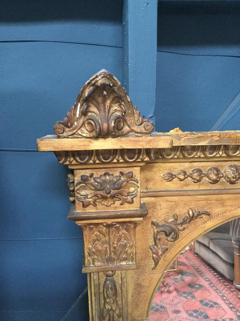French Large Antique Gilt Mirror For Sale