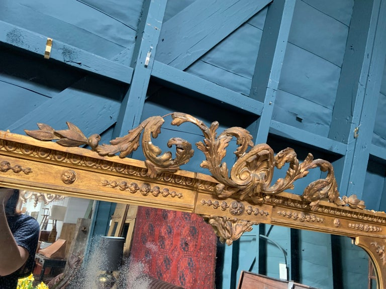 Hand-Painted Large Antique Gilt Mirror For Sale