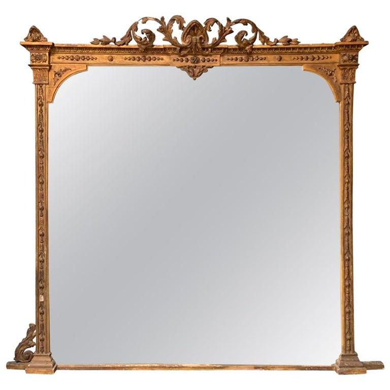 Large Antique Gilt Mirror For Sale