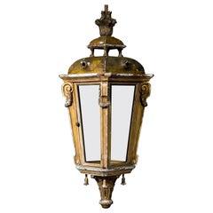 Large Antique Giltwood Hall Lantern