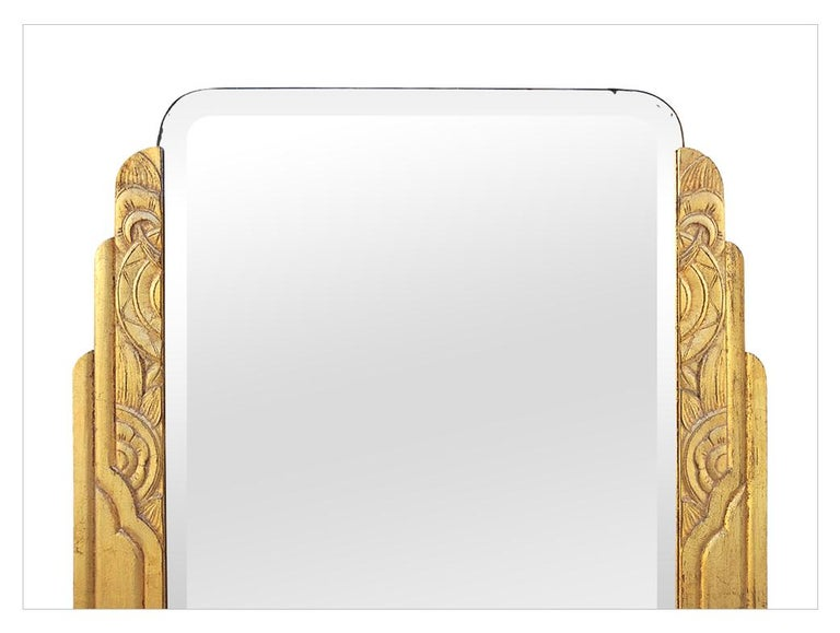 French Large Antique Giltwood Mirror, Art Deco Style, circa 1940 For Sale